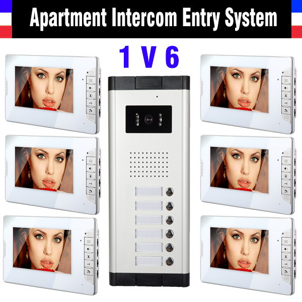 6 Unit Apartment Intercom System 7 Monitor Video Intercom Doorbell Video Door Phone System Apartment Intercom Video Door Camera my apartment