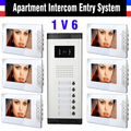 6 Units Apartment Intercom System 7 Inch Monitor Video Intercom Doorbell Door Phone Apartment Intercom Video Door Camera kits