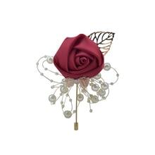 Broche Vintage alfileres de flores simuladas broches para la decoración de la ropa suministro de fiesta de boda novio accesorios de novio broche