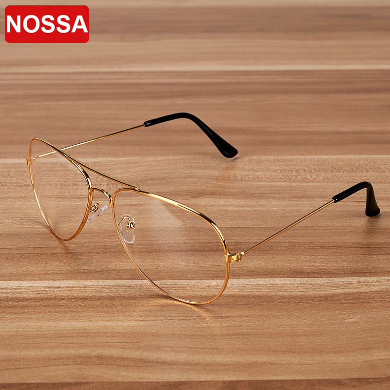 NOSSA Brand Vintage Metal Glasses Frame Kvinnor Män Myopi Glasögon Ramar Prescription Eyewear Frame Clear Lens Spectacle
