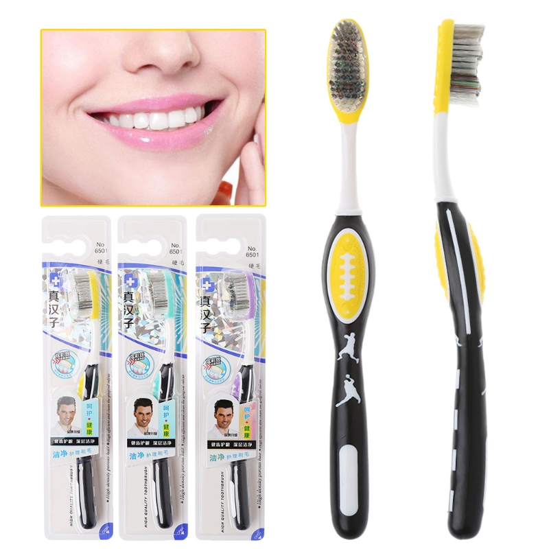 1pc Hard Bristles Toothbrush for Men Tooth Brush Oral Care Remove Smoke Stains Tooth Brush Teeth Whitening Tools 19cm J image