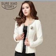 2018 winter Women jacket elegant fashion coat women Beaded Diamond slim Long sleeve Plus size slim fit jacket women clothes 661B