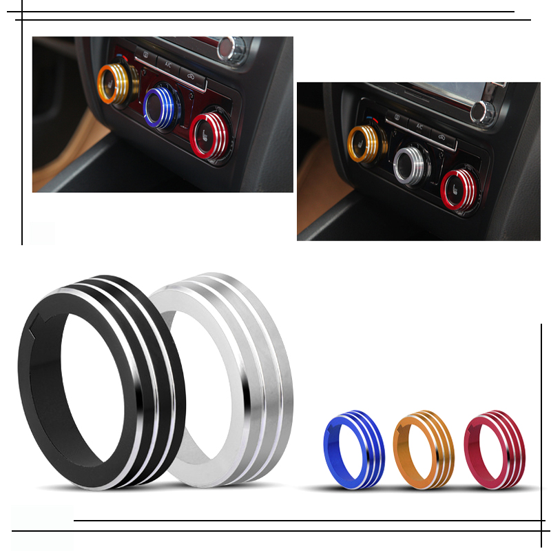 3 Pcs For Volkswagen Golf 7 Car Air Conditioning Knob Control Switch Sticker Trim Ring Decorative Circle Cover Car Styling