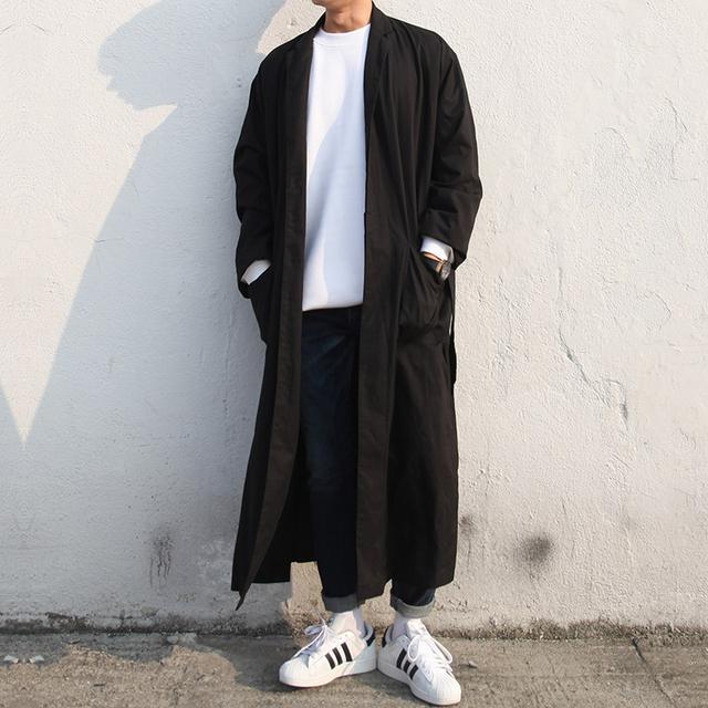 Primavera otoño moda casual hombres capa de foso larga de gran tamaño suelta prendas de vestir exteriores de los hombres punk harajuku streetwear chaqueta, Q62