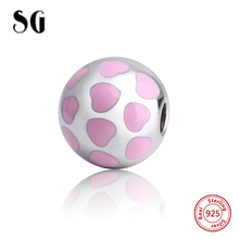 2017 New Arrival 925 Sterling Silver Beautiful Pink Beads Fit Original Pandora Bracelets Charms Beads for Fashion Jewelry Making new arrival charms sterling silver 925 hat beads fit original pandora charm bracelets diy jewelry accessory making for men gift