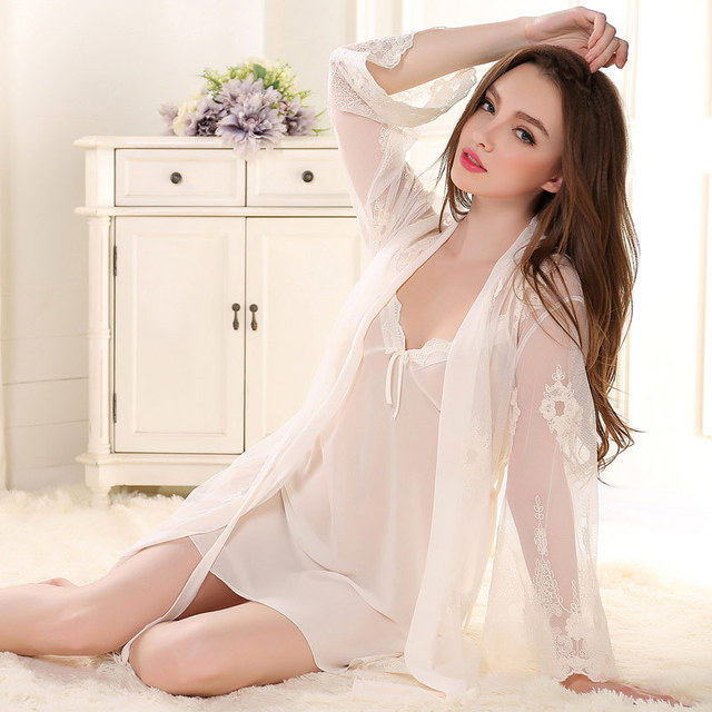 Sexy sleepwear embroidery women pajamas sets robe dressing gowns for women bathrobe Transparent sleep-shirt