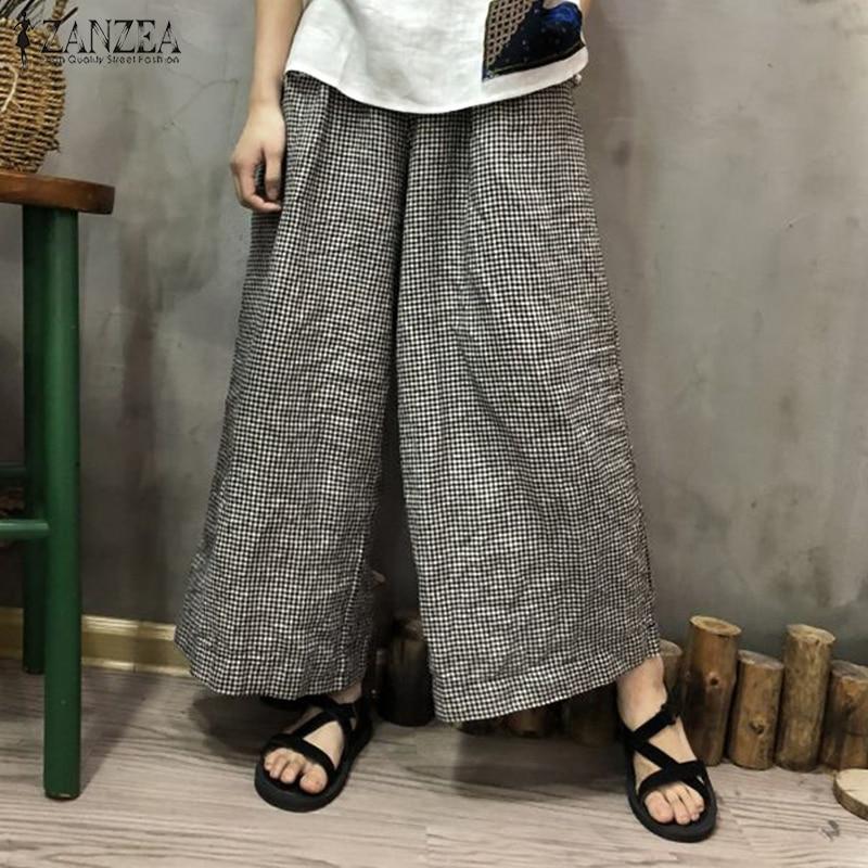 2018 Plus Size ZANZEA Women Loose Pantalon Trousers Casual Elastic Waist Pockets Vintage Plaid Check Autumn Long   Wide     Leg     Pants