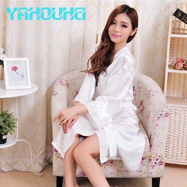 2016 Caliente Venta de Moda Largo Blanco de Novia Bata Bata De Seda ropa de Dormir de Satén Kimono Robe 2016 Nuevo