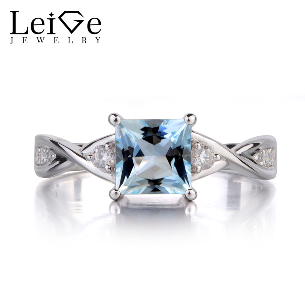 Leige Jewelry Princess Cut Aquamarine Engagement Rings for Women Sterling Silver 925 Fine Jewelry Blue Gemstone March Birthstone