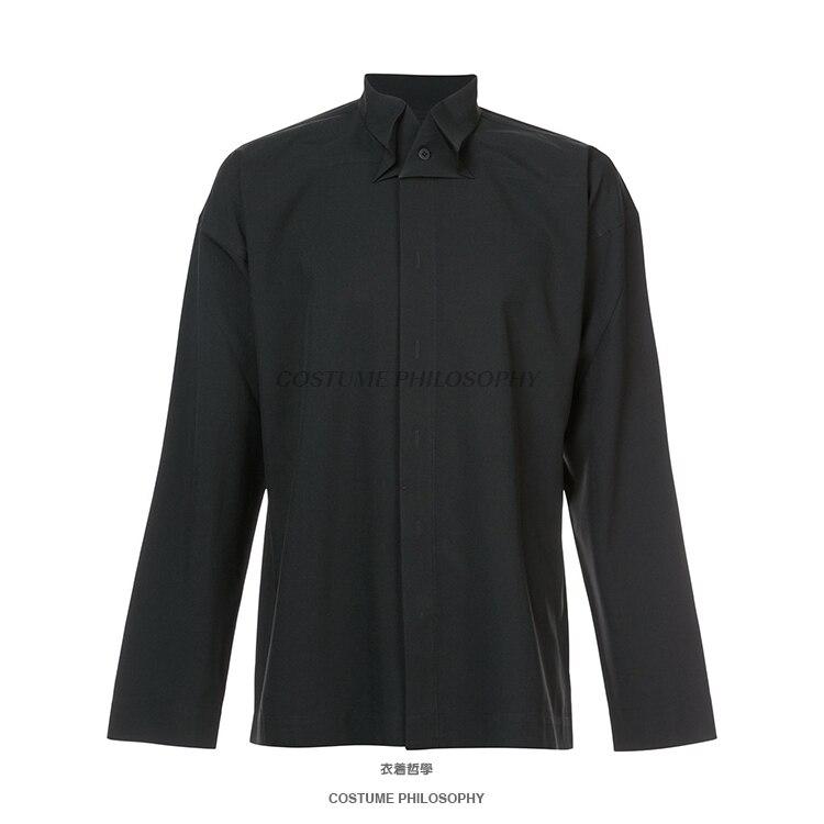 M 6XL! Di alta qualità marchio di abbigliamento maschile 2018 Yamamoto nuovo camicia a manica lunga con collare farfalla