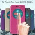 Para asus zenfone 2 laser ze500kg caso areia-como tampa da janela de couro magnético inteligente para asus zenfone 2 laser ze500kg ze500kl