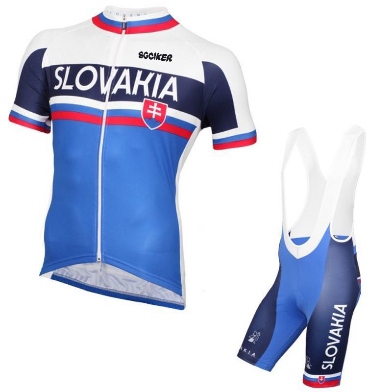 summer Short sleeve pro team slovakia cycling jersey mens breathable racing bike cloth MTB Ropa Ciclismo maillot GEL PAD 2017pro team lotto soudal 7pcs full set cycling jersey short sleeve quickdry bike clothing mtb ropa ciclismo bicycle maillot gel