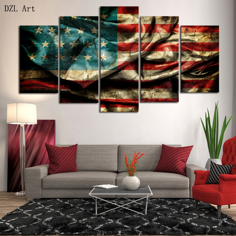 Online Drop Shipping 5 Piece Hd American Flag Picture Canvas Print Painting Wall Art Home Decoration For Living Room Framed Aliexpress Mobile