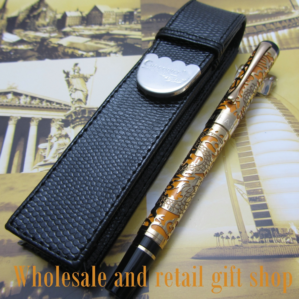Free shipping 0.7MM perfect Kim Ho celluloid pen engraved of Orange and gold fountain Pen+pen bagFree shipping 0.7MM perfect Kim Ho celluloid pen engraved of Orange and gold fountain Pen+pen bag