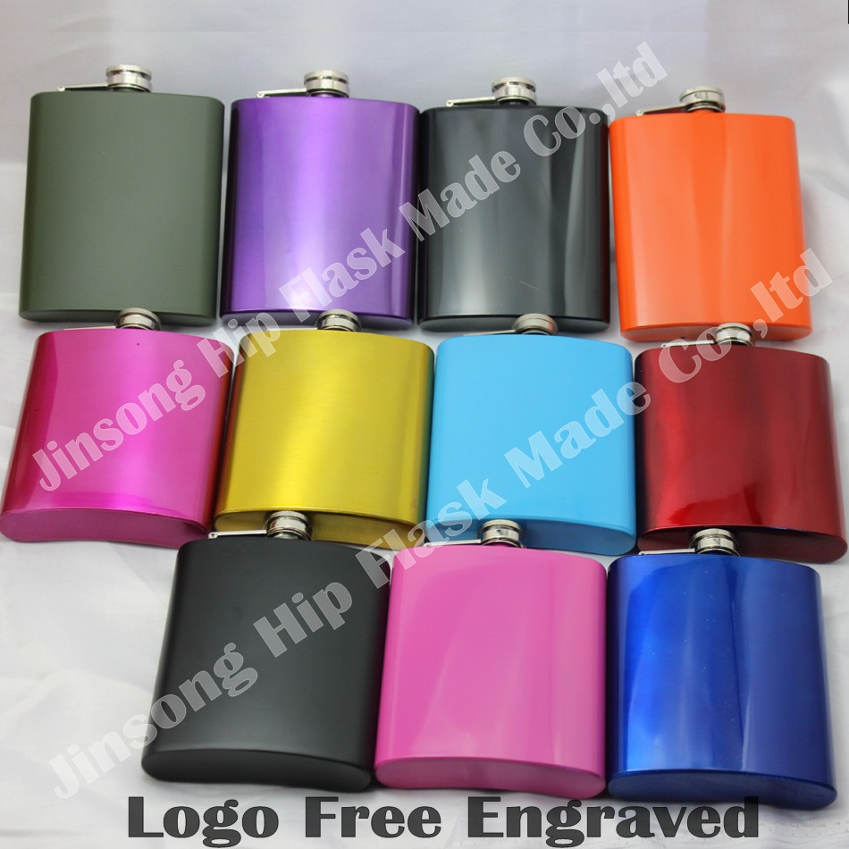 100pcs Led free 6oz stainless steel black colored hip flasks other color available customized logo accept