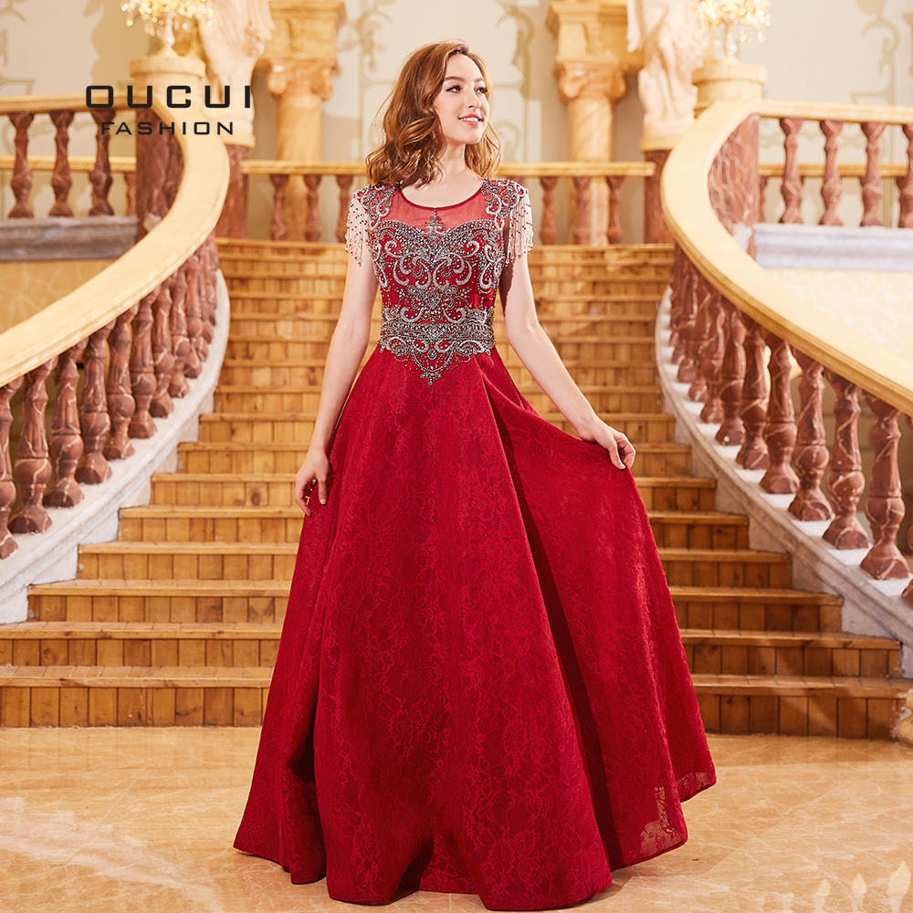 2019 Newest Red Ball Gown Lace Evening   Dresses   Cap Sleeve Tassel Beading Crysrtal   Prom     Dress   Elegant Vestido Wear Party OL103291