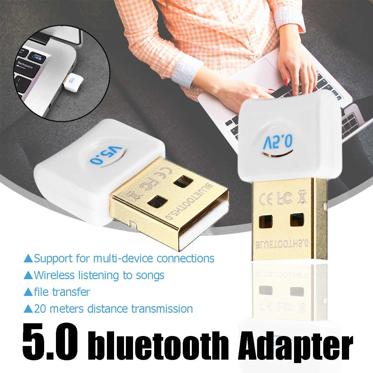 LEORY USB Bluetooth Adapter Dongle For Computer PC Mouse Aux Audio Bluetooth 2.0 3.0 4.0 5.0 Speaker Music Receiver Transmitter