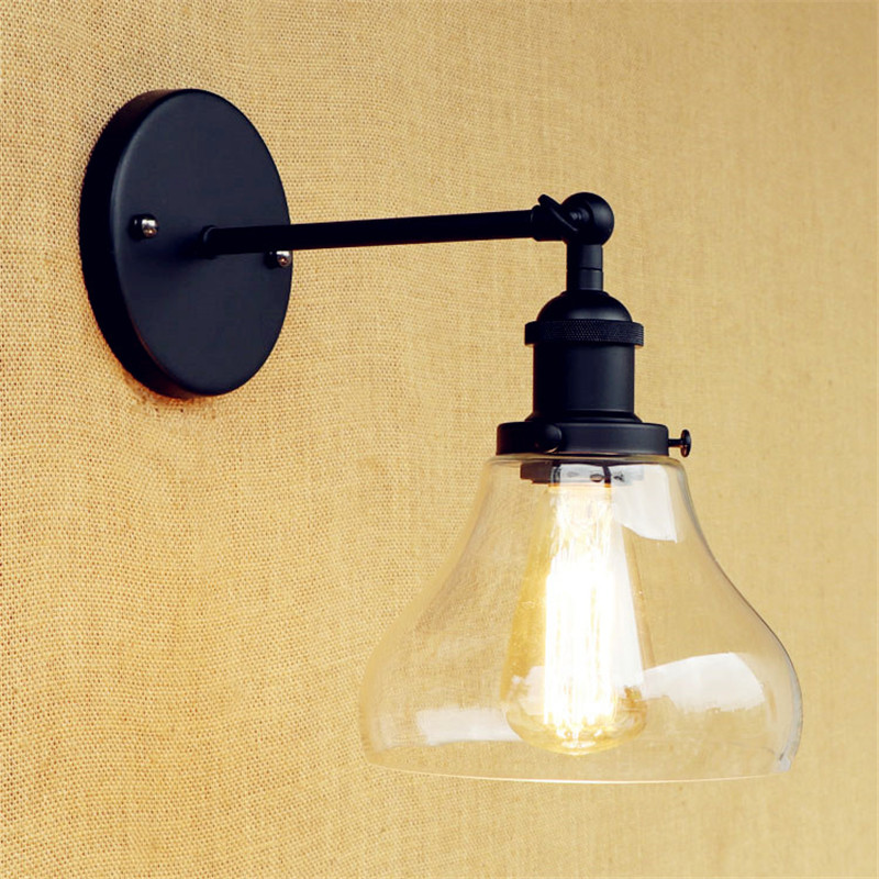 Loft Style Retro Wall Lamp Glass Lampshade Wall Sconce Edison Industrial Vintage Wall Light Fixtures Indoor Lighting Lamparas glass lampshade retro pulley pendant light fixtures in style loft industrial lamp eidson indoor lighting
