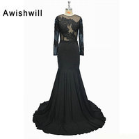 Sexy Evening Dresses Long With Long Sleeves Open Back Lace Appliques See Through Top Women Mermaid Evening Gowns Black