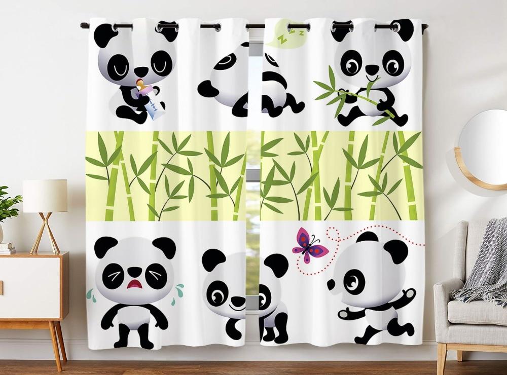 HommomH rideaux (2 panneau) passe-fil assombrissant chambre occultant mignon dessin animé Panda bambou papillon
