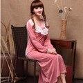 Outono frete grátis e coral fleece inverno de manga comprida ultra-longa camisola feminina de veludo sleepwear real solto salão M-2XL