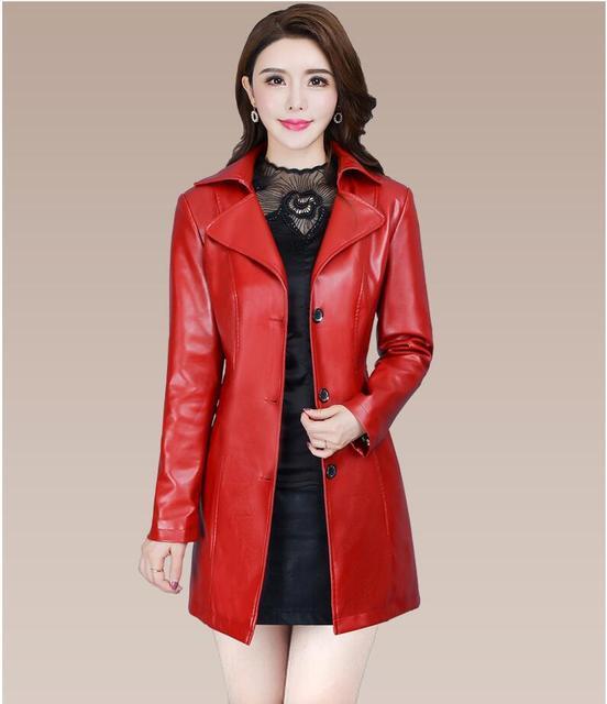 2018 Autumn Winter New Fashion plus size leather Jacket women Leather Jacket Coat women Slim fit long Trench Coat Outwear L-5XL 2