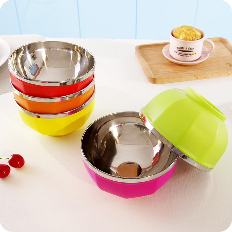 1pc Stainless Color Instant Noodle Bowl Lunch Box Double - layer Heat Insulation Bowl Cute Bowl