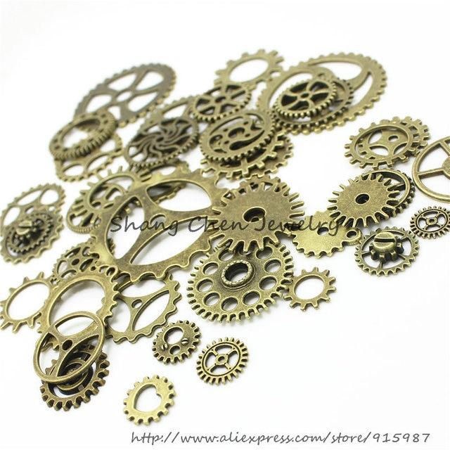 Sweet Bell 20-25 pattern Mixed 200 PCS Assorted  gear Charms Pendants gear Metal Alloy Pandent Color Antique Bronze Diy  D0163