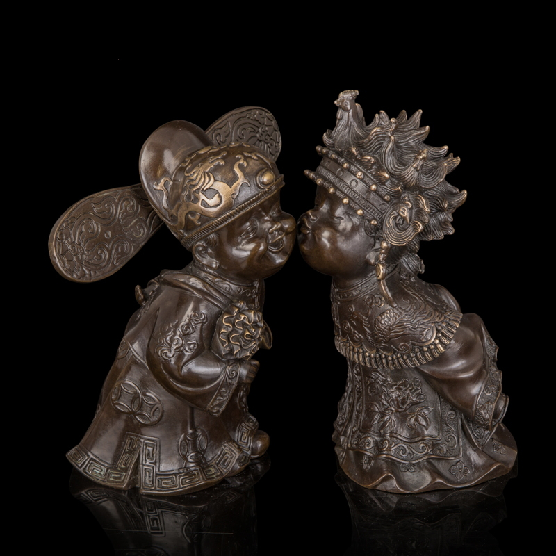 Arts Crafts Copper Chinese Style Bronze Statues groom and bride Sculptures traditional Chinese wedding decoration antiquesArts Crafts Copper Chinese Style Bronze Statues groom and bride Sculptures traditional Chinese wedding decoration antiques