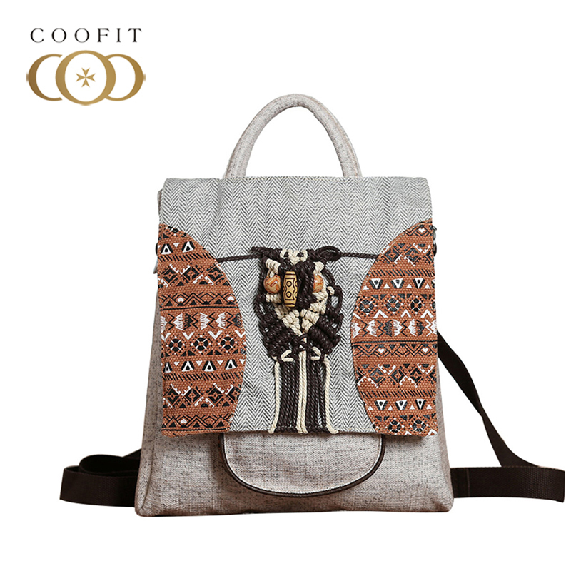 все цены на coofit Vintage National Stylish Backpack For Women Canvas Cute Owl Mini Backpack Large Capacity School Backpack With Cell Phone