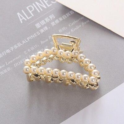 Fashion Girl Hair Claw Geometric Imitation Pearl Hairpin Crab Retro Heart Shape Crystal Hair Clips Hair Accessories For Women