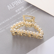 Fashion Girl Hair Claw Geometric Imitation Pearl Hairpin Crab Retro Heart Shape Crystal Clips Accessories For Women