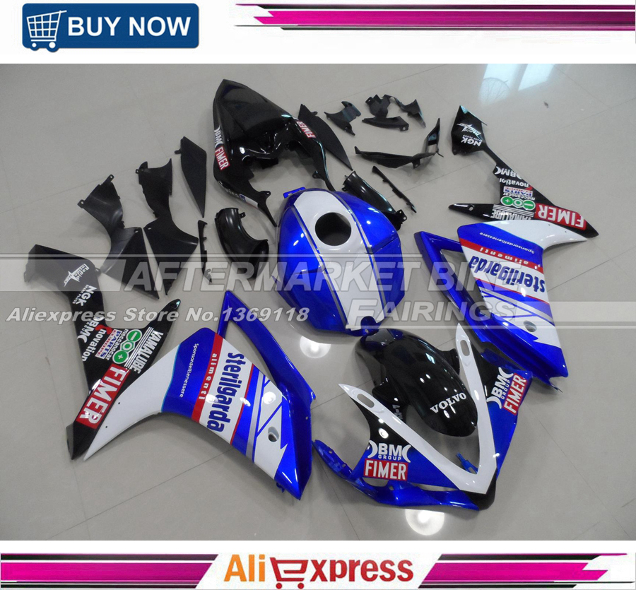 Full Tank Cover ABS Fairing Kit For Yamaha YZF R1 2007 2008 07 08 Complete Injection Fairings Bodywork With Free Rear Cowl unpainted tail rear fairing cover bodywork for yamaha yzf r1 2007 2008 injection mold abs plastic