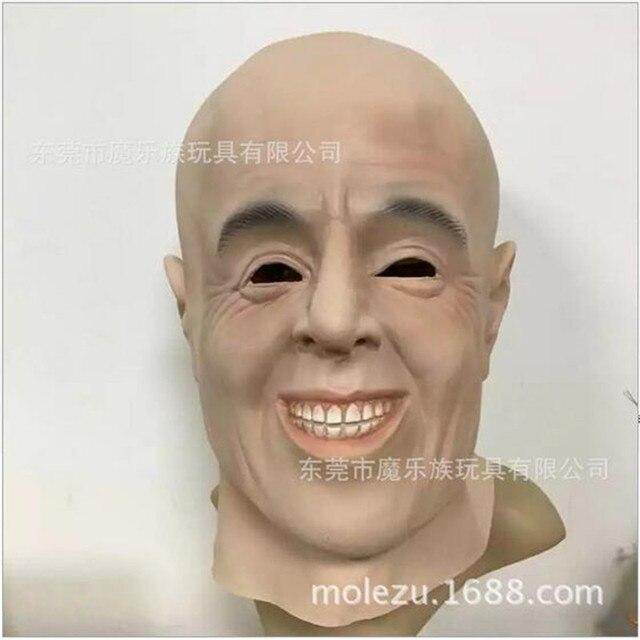 free shipping artificial man latex mask hood overhead human skin mask disguise prank halloween makeup costume
