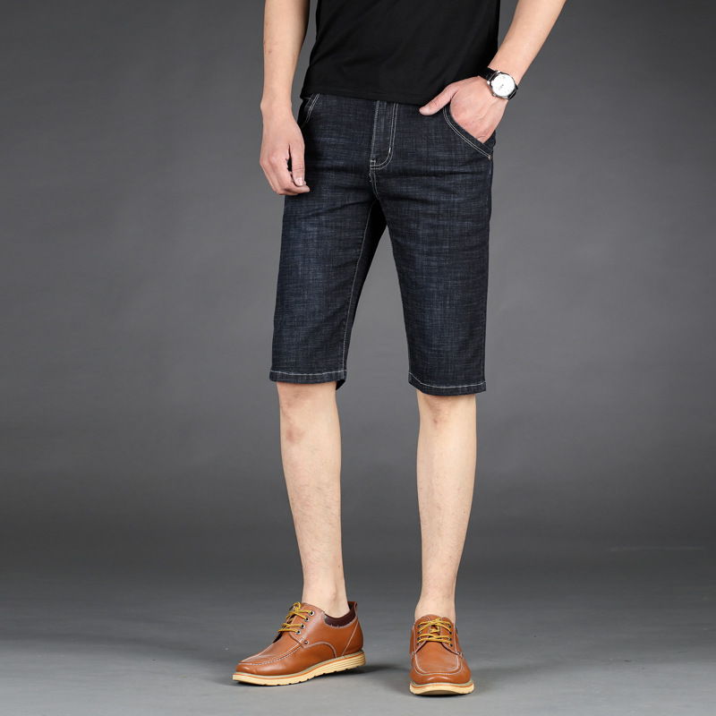 Men 39 s summer thin casual denim shorts Korean version of washed straight pants wicking breathable stretch five pants in Casual Shorts from Men 39 s Clothing