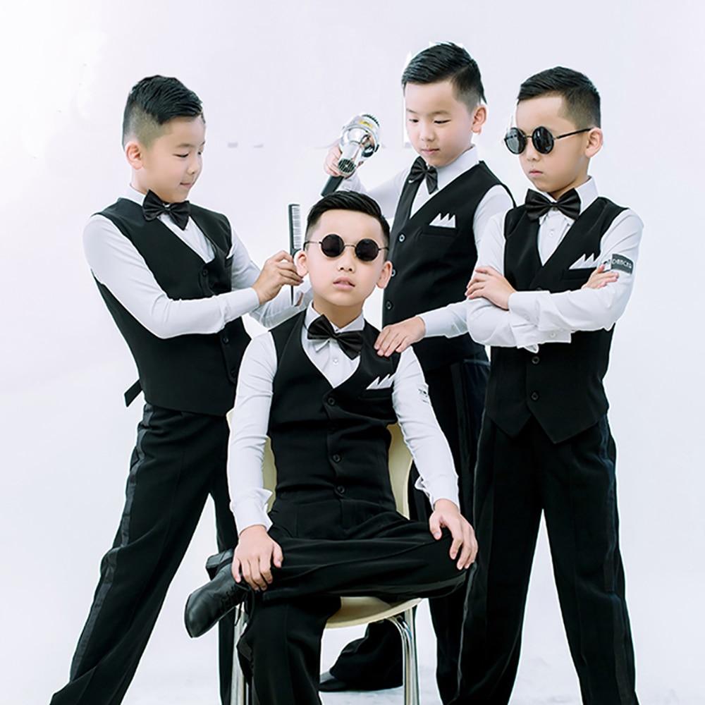 Original Latin haut de danse pour enfants couleur noire hauteur qualité tissu chemises porte classique mâle garçon salle de bal manteaux E011
