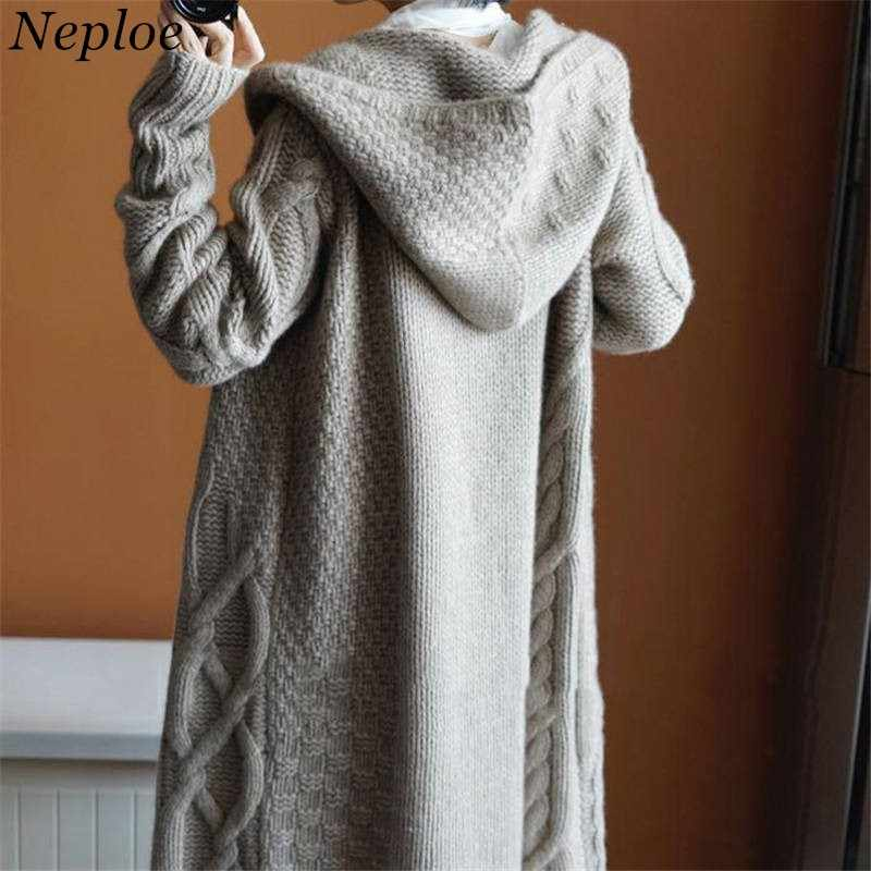 Neploe Long Twist Sweater Cardigans Autumn Winter New Knitted Coat Korean Chic Thicken Overcoat Female Sweaters Jacket 37152