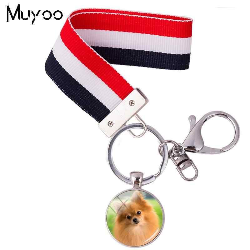 2018 חדש עיצוב Pomeranian מפתח שרשרות צעצוע כלבים סרט Keyring סרט Keyrings מחזיקי מפתחות כמו תכשיטים