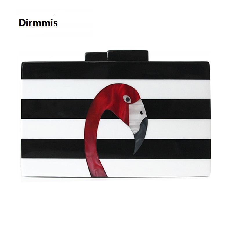 2018 Dames messenger bags merk fashion portemonnee Europese high-end elegante zwart-wit gestreepte acryl Flamingo Casual clutch