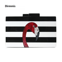 Women Messenger Bag Brand Fashion Wallet European Luxury Handbag Elegant Black White Woman Stripe Acrylic Flamingo Casual Clutch
