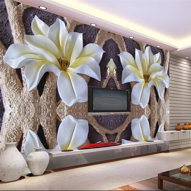 3D photo wallpaper Dimensional relief murals living room TV background lotus 3D large wall mural wallpaper Modern painting modern simple romantic snow large mural wallpaper for living room bedroom wallpaper painting tv backdrop 3d wallpaper