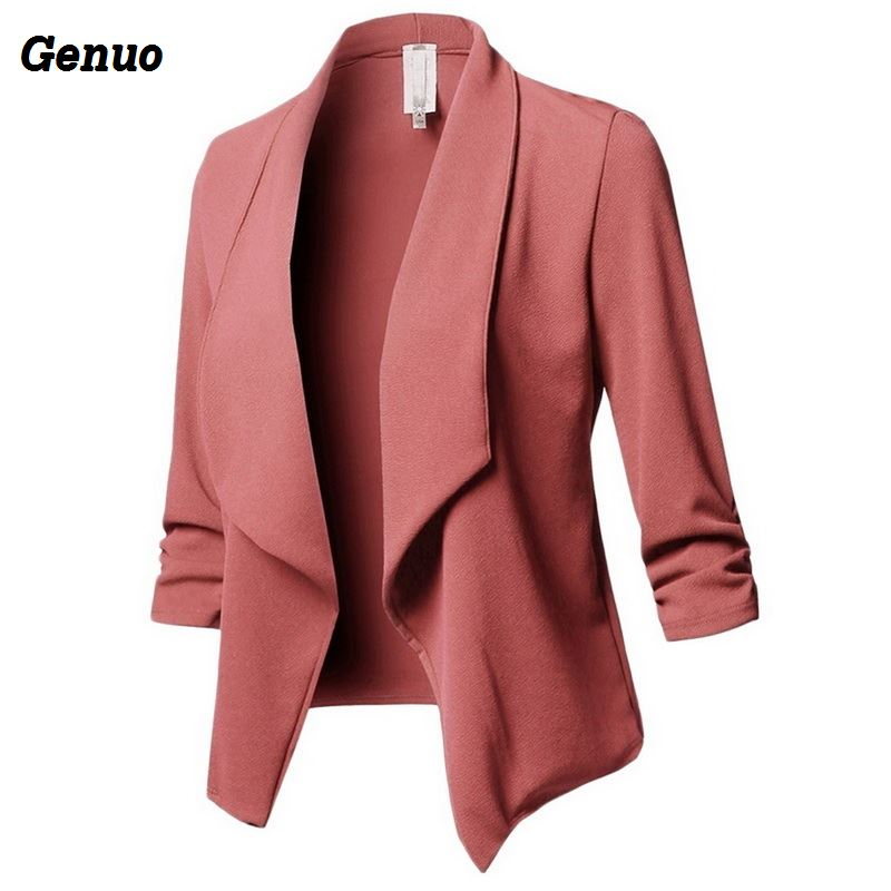 Genuo Women Blazer Solid Color Suit Long Sleeved Lapel Casual Small Suit Slim Ladies Blazers Work Wear Coat Plus Size Top