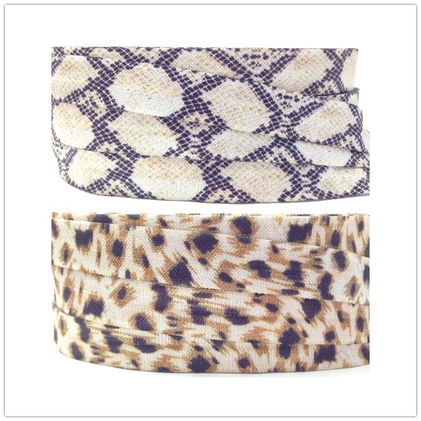 High Quality Snake Skin Leopard Print Fold Over Elastic 10 Yards 5/8