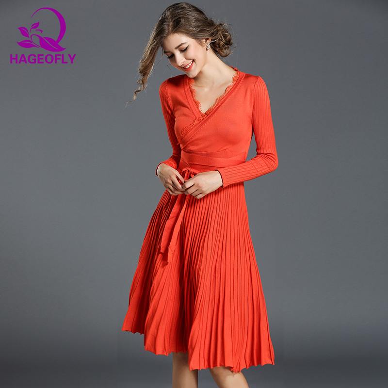 HAGEOFLY Autumn Dress Orange Green Red Long Sleeve Women Dress Knee Length Elegant Pleated Kniting Dress Party Vestidos Dresses
