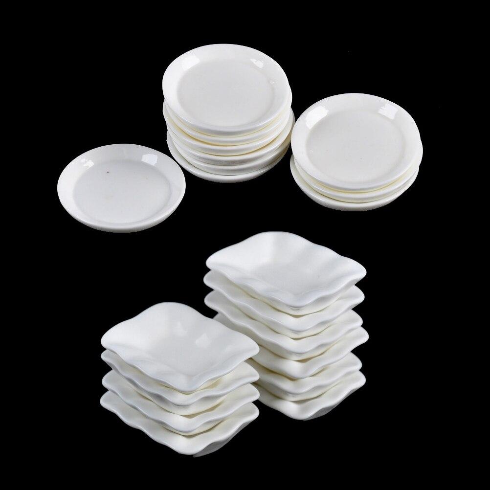 10PCS Trays Plates Doll Mini Food White Dishes Tableware Kitchen ...