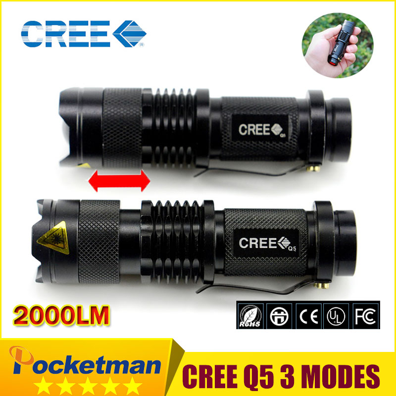 New 2018 High quality Black lantern Torch light mini LED Flashlight Strong 2000 Lumens Zoomable Penlight Lanterna