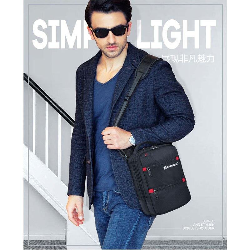 Image 5 - 2019 Swiss Fashion Shoulder Bag Men Mini Handbag Black Crossbody For Ipad Casual Oxford Messenger Satchel Music Bag Women