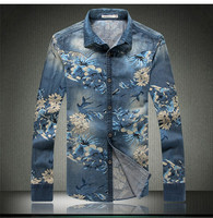 2016 casual clothing men's jeans flower shirt style trend 2016 autumn cotton long-sleeved shirt printing