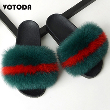 Hot Women Fur Slippers Fluffy Fox fur Slides Cute Furry Raccoon Sandals Winter Warm Slipper Lady Soft Casual House Shoes