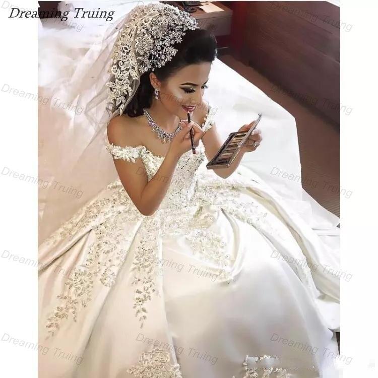 Glitter In Dubai Princess Ball Gown Wedding Dresses Saudi Arabian